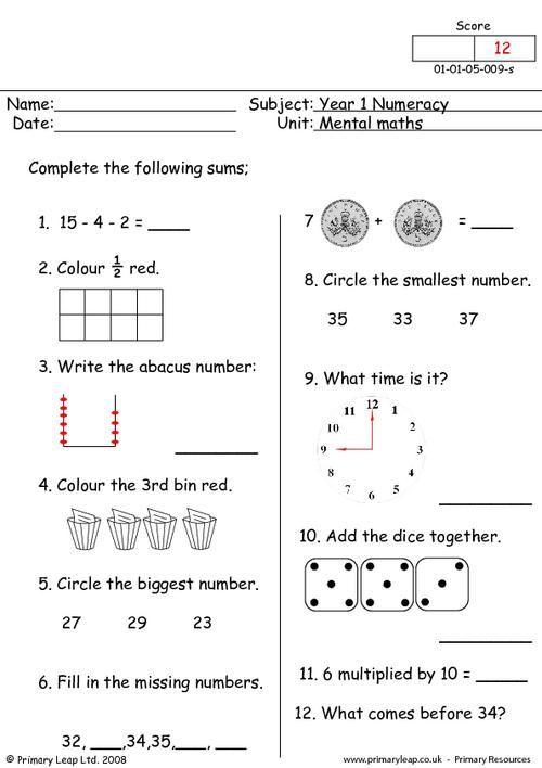Mental maths 9