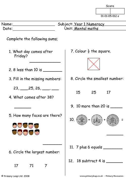 Mental maths 12