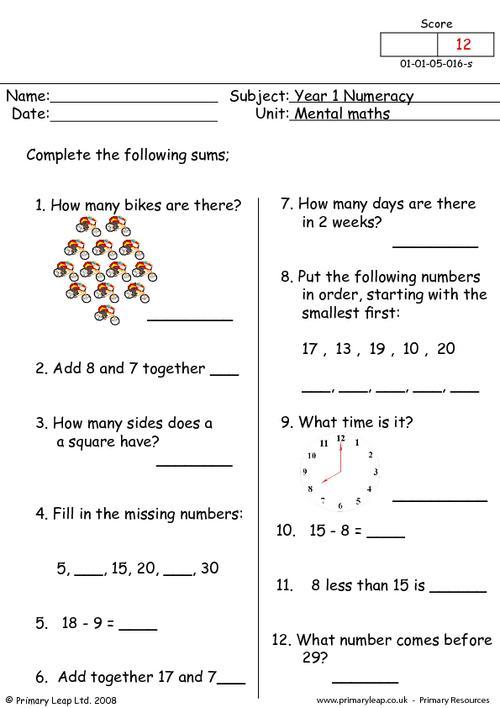 Mental maths 16