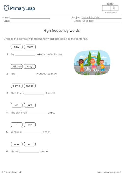 Read and write high frequency spelling words 7