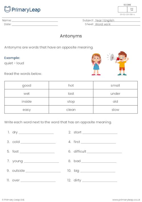 Antonyms or opposites