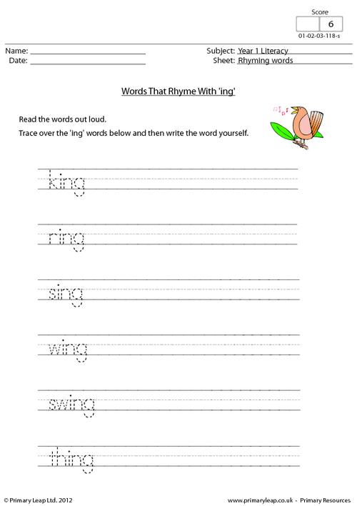 Words that rhyme with 'ing'