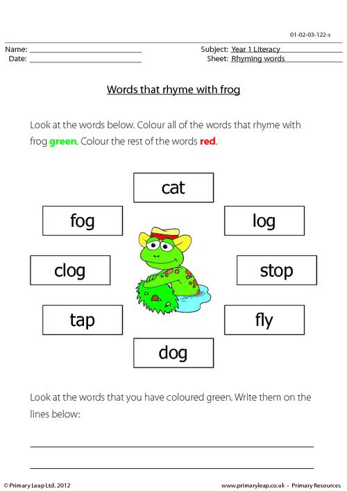 Words that rhyme with 'frog'