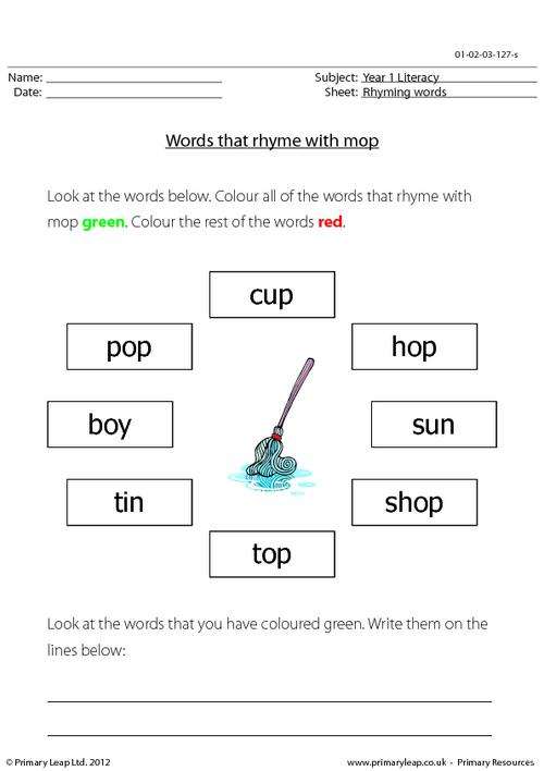 Words that rhyme with 'mop'