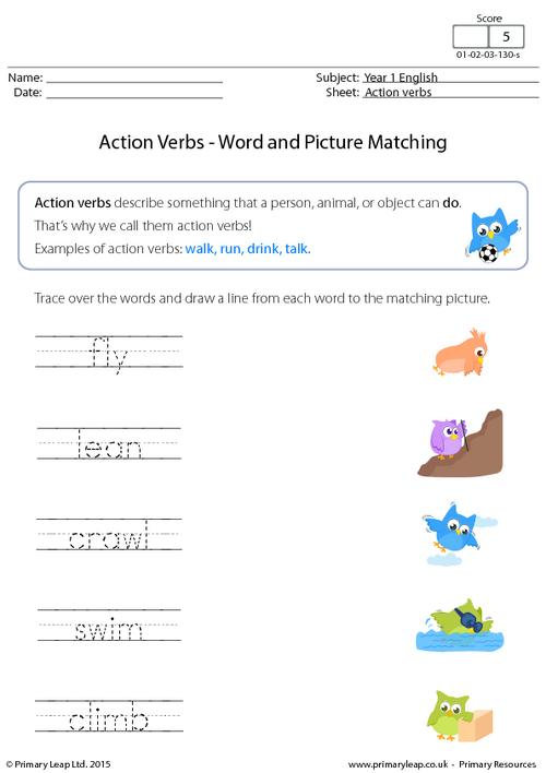 Action Verbs - Word and picture matching (1)