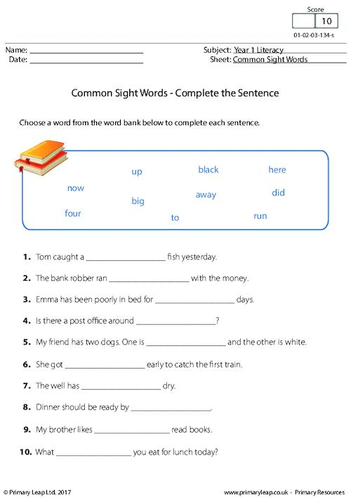 Common Sight Words - Complete the Sentence (1)