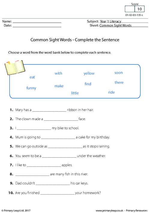 Common Sight Words - Complete the Sentence (2)