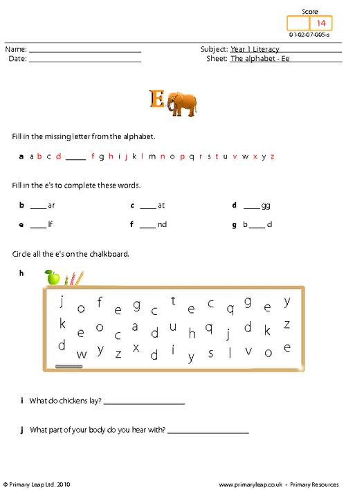 The alphabet - Ee