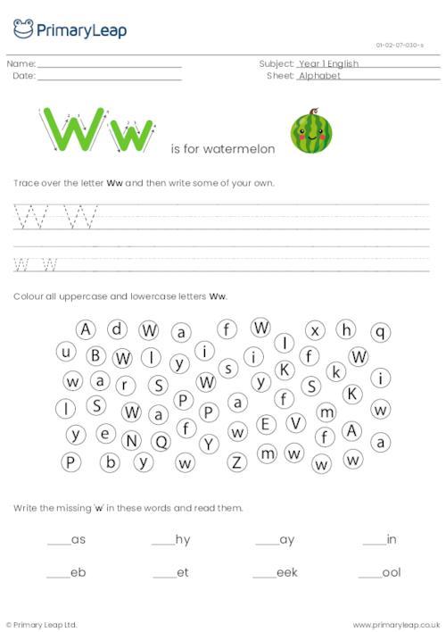 Alphabet practise - Letter W