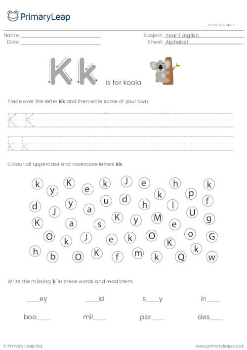 Alphabet practise - Letter K