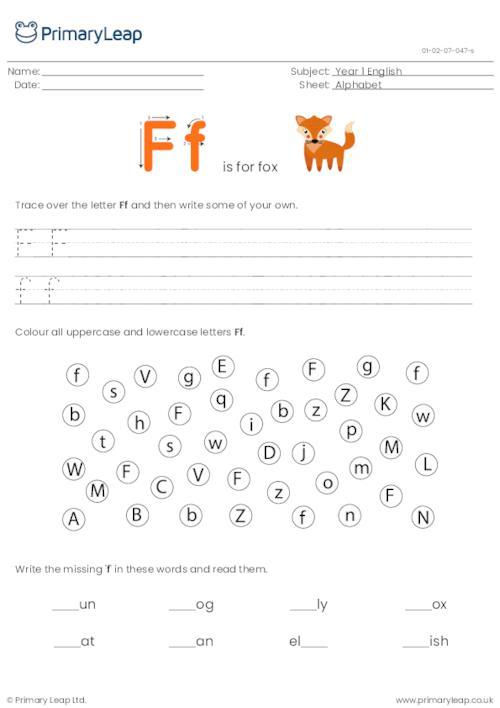 Alphabet practise - Letter F