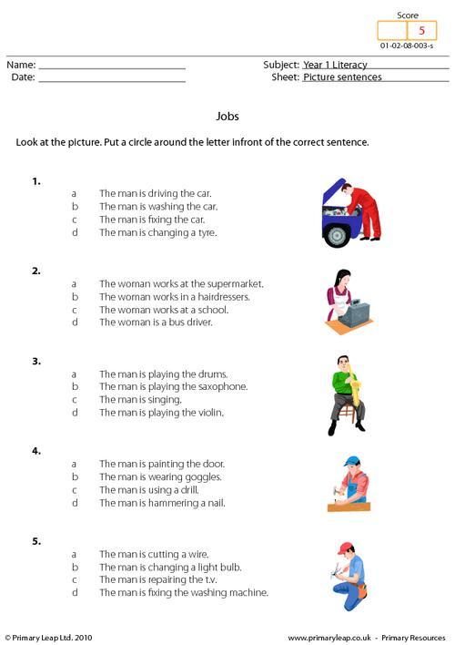 Picture sentences - Jobs