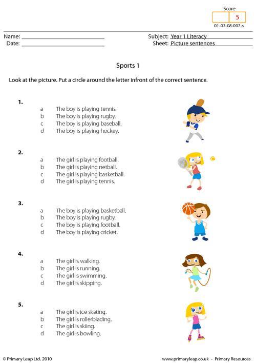 Picture sentences - Sports 1