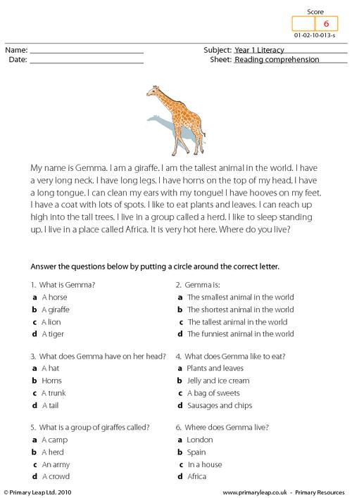 Reading comprehension - I am a giraffe (short text)