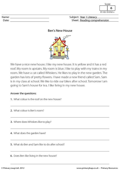 Reading comprehension - Ben's New House