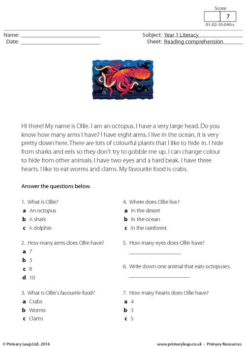 Reading comprehension - Ollie the Octopus