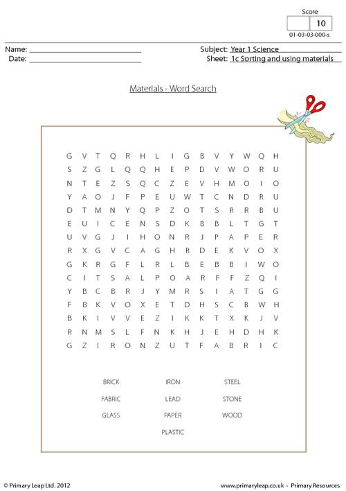 Materials word search