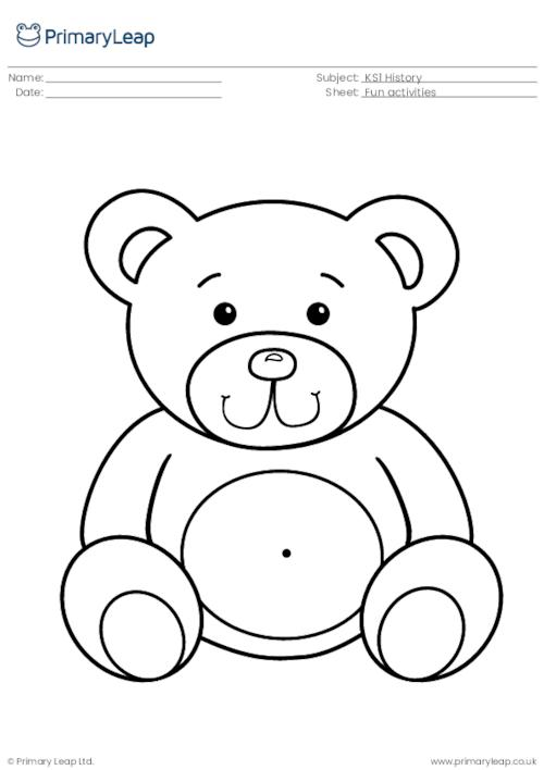 History: Teddy Bear Colouring Page Worksheet PrimaryLeap.co.uk