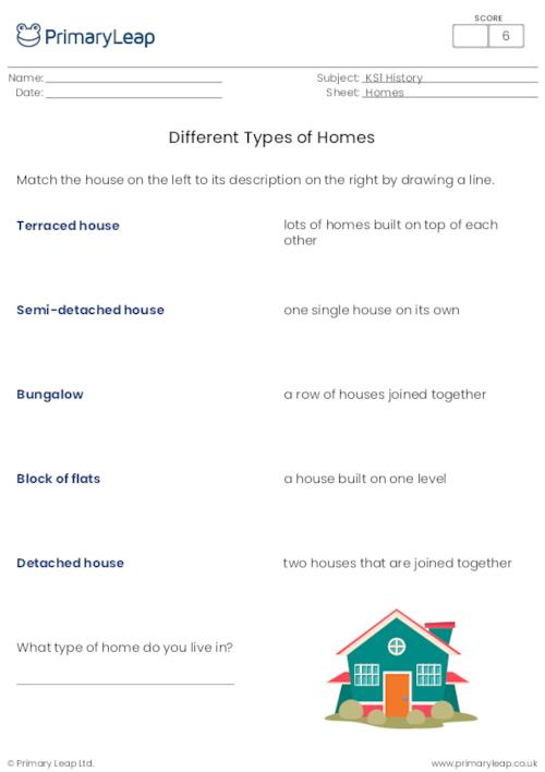 Matching activity - Different types of homes