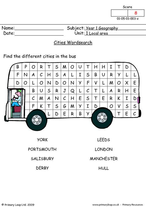 Cities wordsearch
