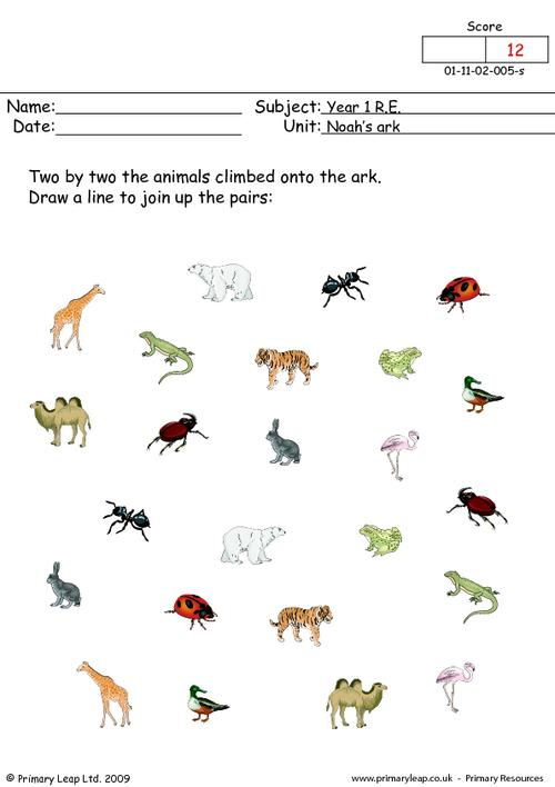 2 by 2 Pair Up Noah's Animals