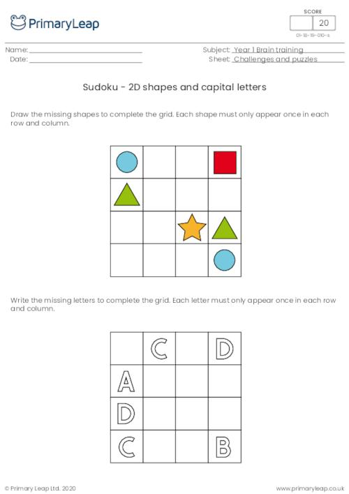 Sudoku - 2D shapes and capital letters