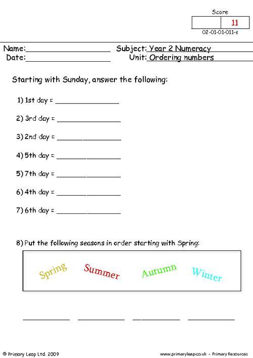 Ordering Numbers (4)