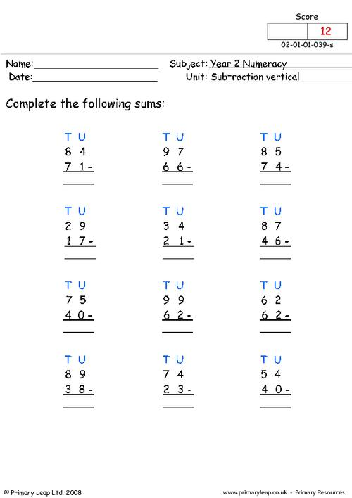 Subtraction vertical (1)