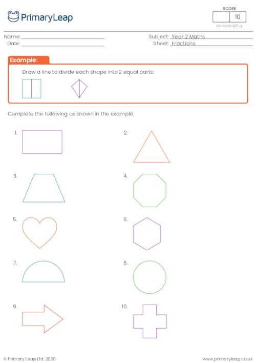 Dividing shapes into two equal parts