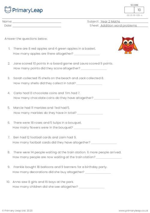 Y2 Addition Word Problems 1