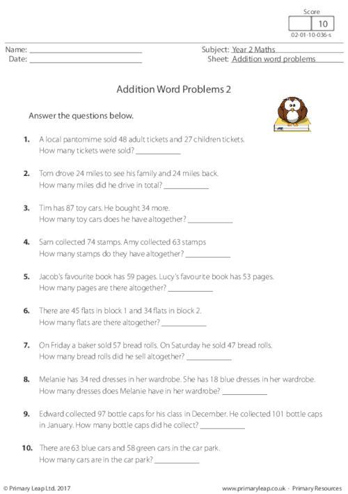 Y2 Addition Word Problems 2