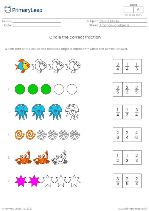 Circle the correct fraction 1