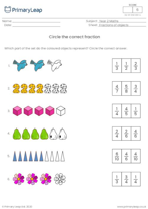 Circle the correct fraction 2