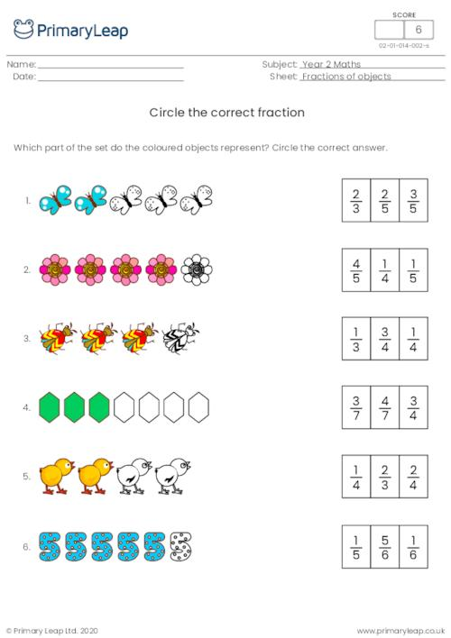Circle the correct fraction 3