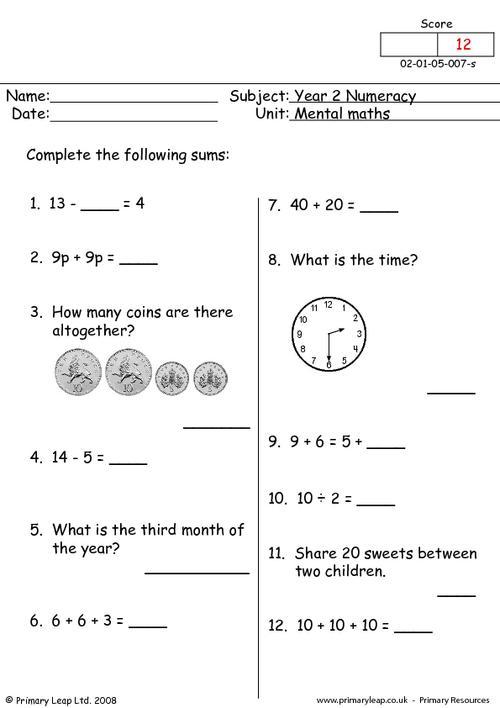 Numeracy: Mental Maths 7 Worksheet PrimaryLeap.co.uk