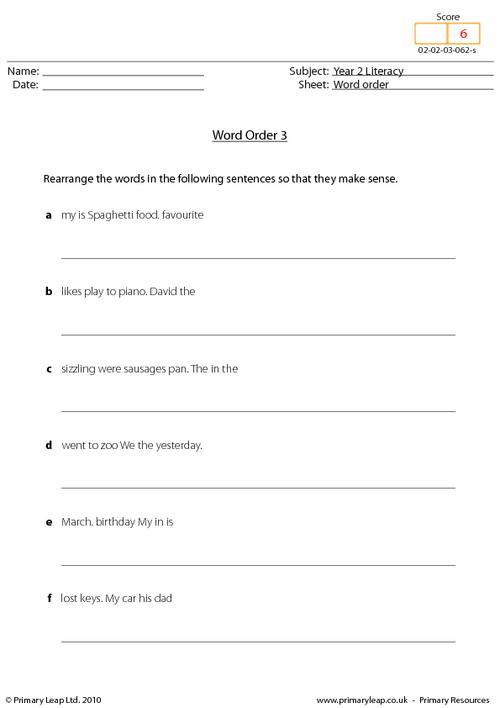 Word order 3