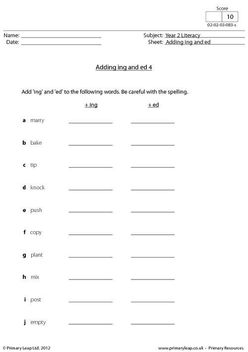 Adding ing and ed 4