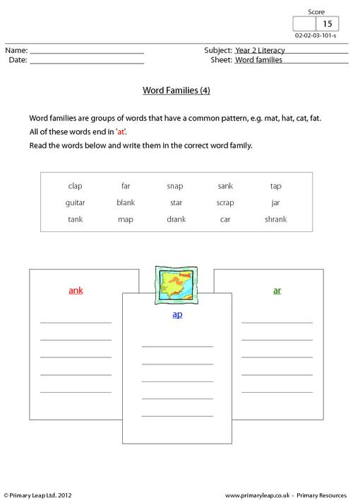 Word families - 'ank', 'ap' and 'ar'
