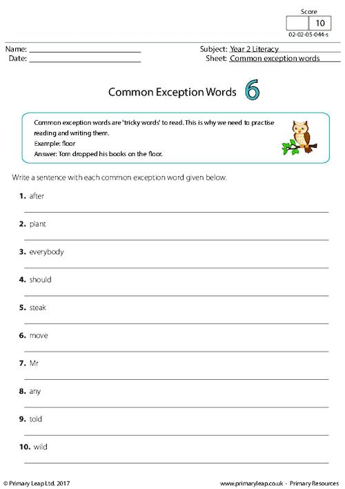 Common Exception Words 6