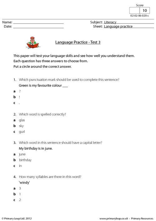 Language Skills - Test 3