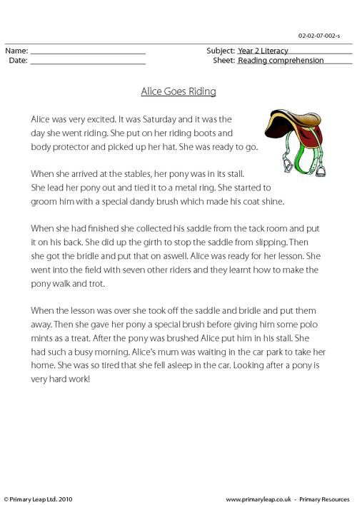 Reading comprehension - Alice Goes Riding