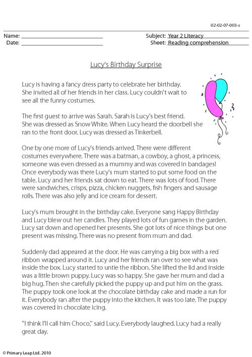 Reading comprehension - Lucy's Birthday Surprise