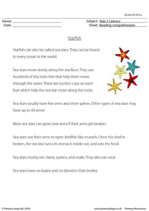 Reading comprehension - Starfish (non-fiction)