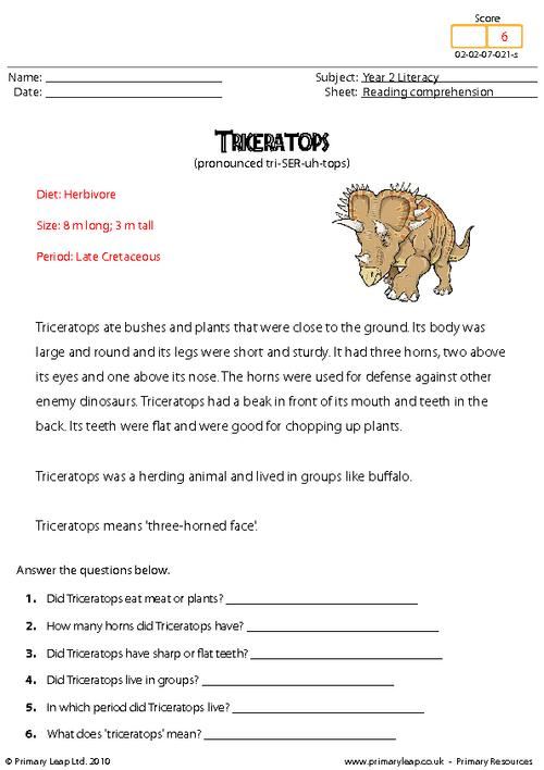 Reading comprehension - Triceratops (non-fiction)