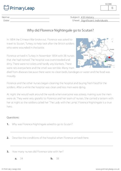 Why did Florence Nightingale go to Scutari?
