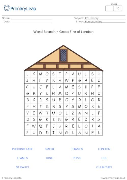Fire Of London Word search