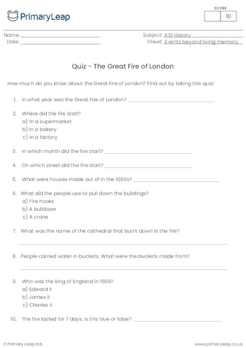 Great Fire of London Quiz