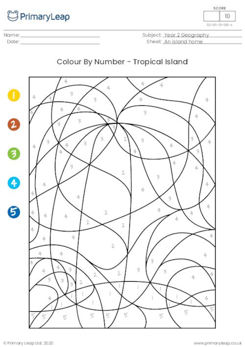 Colour By Number - Tropical Island