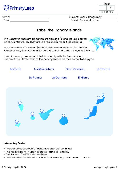 Label the Canary Islands