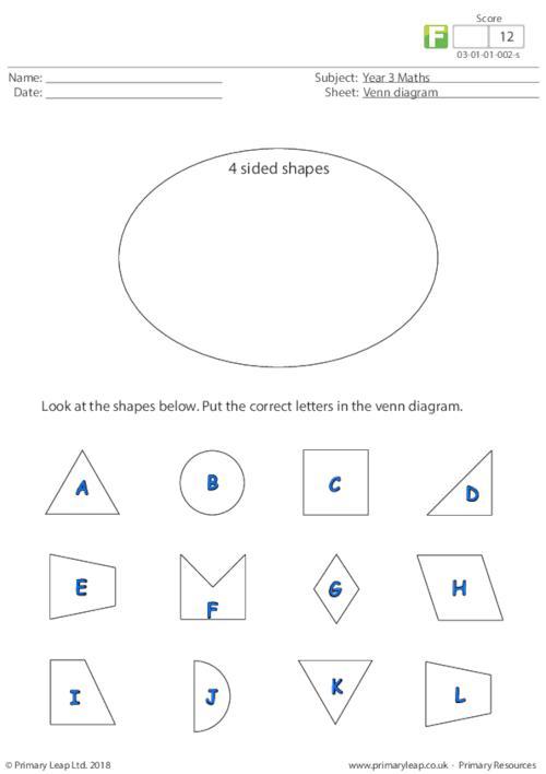 Numeracy Venn Diagram 1 Worksheet Primaryleap Co Uk